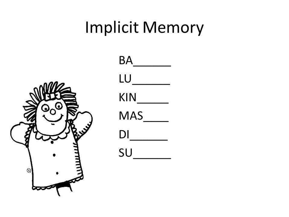 Implicit Memory Procedural memories – Memori akan keterampilan motorik – Berjalan atau talking Declarative memories – Memories we can readily state in words – Menjelaskan bagaimana harus mengikat dasi kepada orang yang belum pernah melakukan – Mengingat apa huruf di sebelah huruf G.