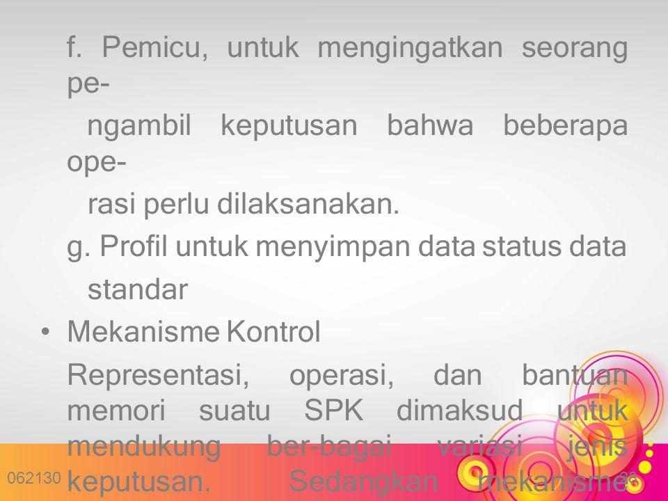 f. Pemicu, untuk mengingatkan seorang pe- ngambil keputusan bahwa beberapa ope- rasi perlu dilaksanakan. g. Profil untuk menyimpan data status data st