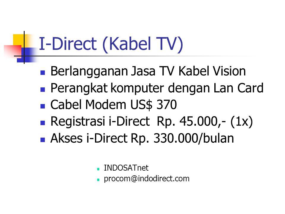 I-Direct (Kabel TV) Berlangganan Jasa TV Kabel Vision Perangkat komputer dengan Lan Card Cabel Modem US$ 370 Registrasi i-Direct Rp.