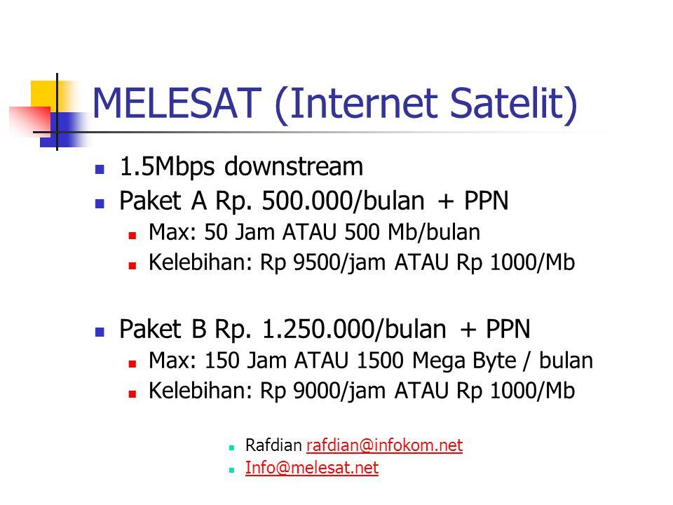MELESAT (Internet Satelit) 1.5Mbps downstream Paket A Rp.
