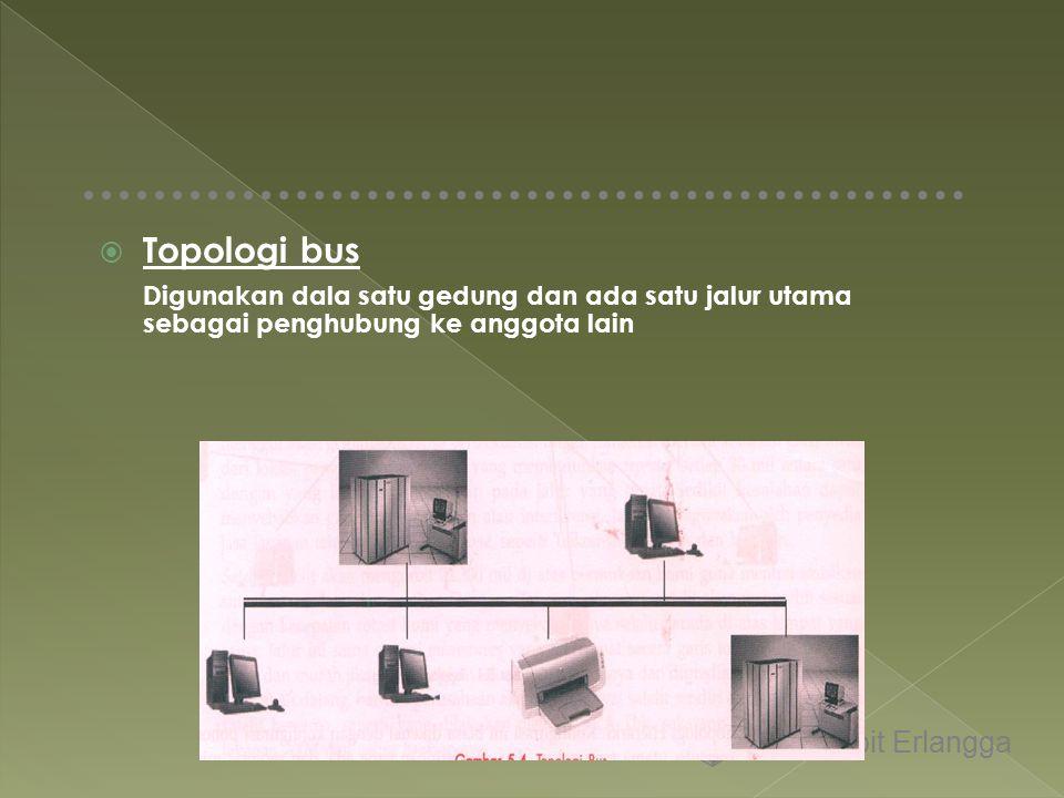 Topologi bus Digunakan dala satu gedung dan ada satu jalur utama sebagai penghubung ke anggota lain Penerbit Erlangga