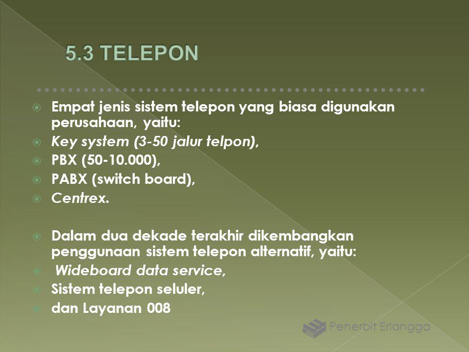  Empat jenis sistem telepon yang biasa digunakan perusahaan, yaitu:  Key system (3-50 jalur telpon),  PBX (50-10.000),  PABX (switch board),  Cen