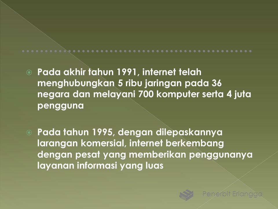 Pada akhir tahun 1991, internet telah menghubungkan 5 ribu jaringan pada 36 negara dan melayani 700 komputer serta 4 juta pengguna  Pada tahun 1995