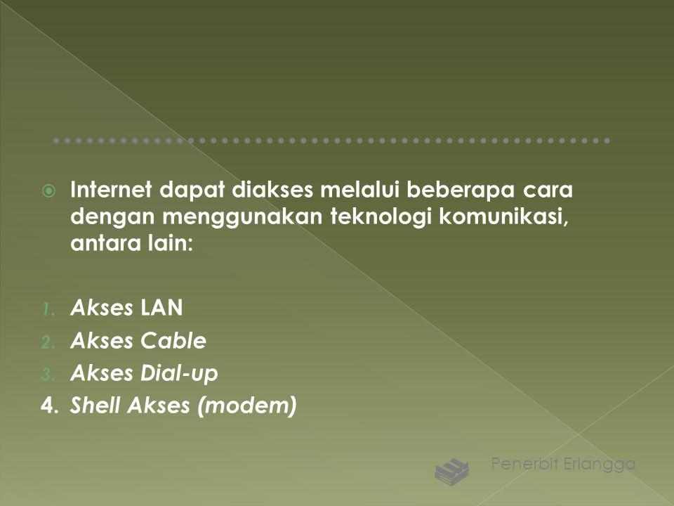  Internet dapat diakses melalui beberapa cara dengan menggunakan teknologi komunikasi, antara lain: 1. Akses LAN 2. Akses Cable 3. Akses Dial-up 4. S