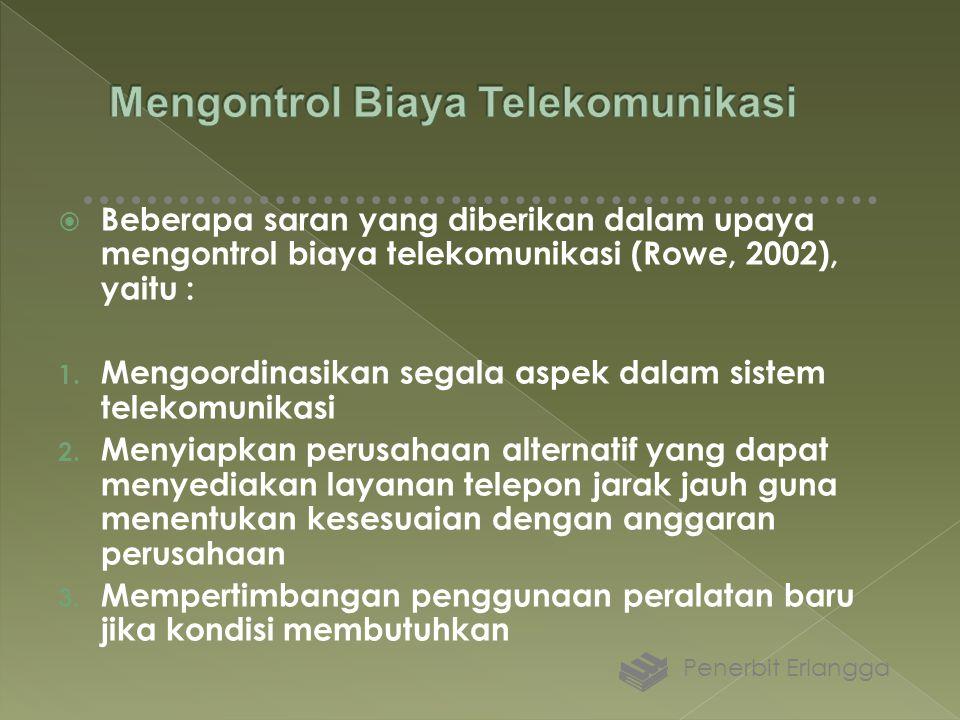  Beberapa saran yang diberikan dalam upaya mengontrol biaya telekomunikasi (Rowe, 2002), yaitu : 1. Mengoordinasikan segala aspek dalam sistem teleko
