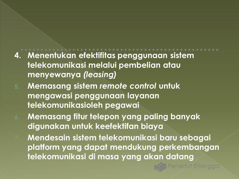 4.Menentukan efektifitas penggunaan sistem telekomunikasi melalui pembelian atau menyewanya (leasing) 5. Memasang sistem remote control untuk mengawas