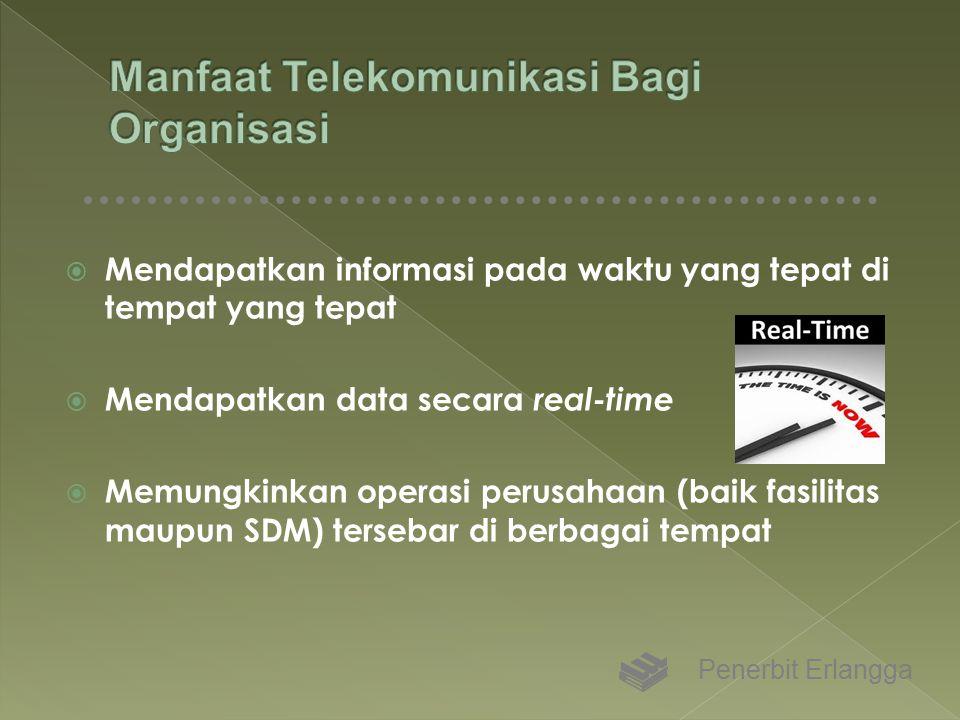  Mendapatkan informasi pada waktu yang tepat di tempat yang tepat  Mendapatkan data secara real-time  Memungkinkan operasi perusahaan (baik fasilit
