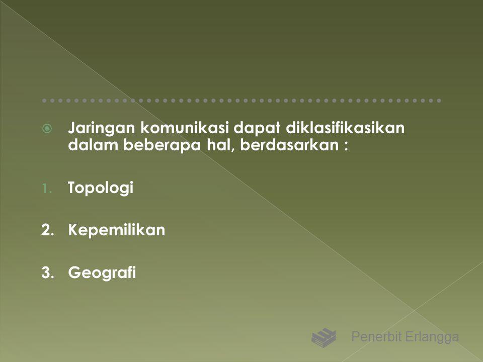  Jaringan komunikasi dapat diklasifikasikan dalam beberapa hal, berdasarkan : 1. Topologi 2.Kepemilikan 3.Geografi Penerbit Erlangga