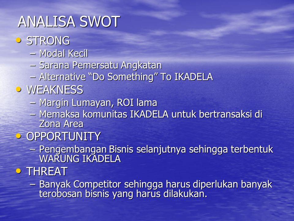 "ANALISA SWOT STRONG STRONG –Modal Kecil –Sarana Pemersatu Angkatan –Alternative ""Do Something"" To IKADELA WEAKNESS WEAKNESS –Margin Lumayan, ROI lama"