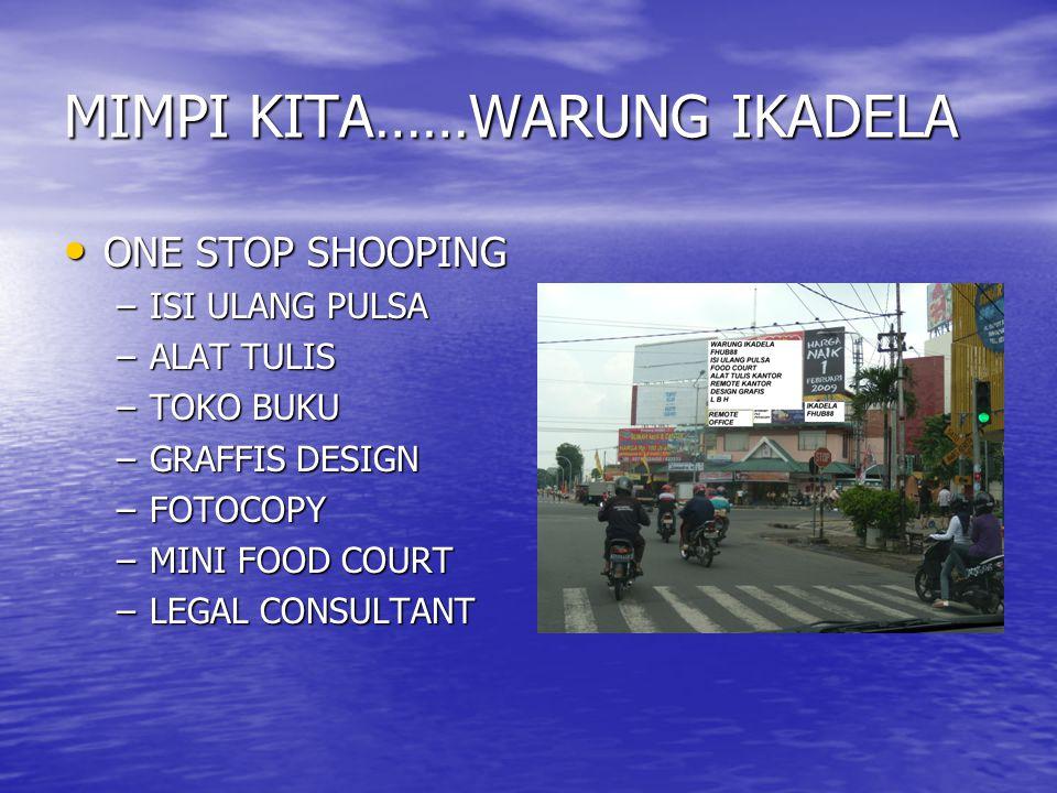 MIMPI KITA……WARUNG IKADELA ONE STOP SHOOPING ONE STOP SHOOPING –ISI ULANG PULSA –ALAT TULIS –TOKO BUKU –GRAFFIS DESIGN –FOTOCOPY –MINI FOOD COURT –LEGAL CONSULTANT