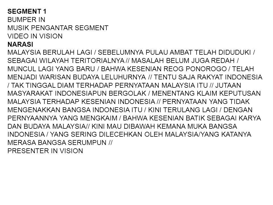 SEGMENT 1 BUMPER IN MUSIK PENGANTAR SEGMENT VIDEO IN VISION NARASI MALAYSIA BERULAH LAGI / SEBELUMNYA PULAU AMBAT TELAH DIDUDUKI / SEBAGAI WILAYAH TER