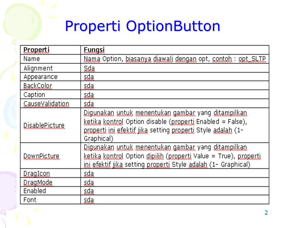2 Properti OptionButton