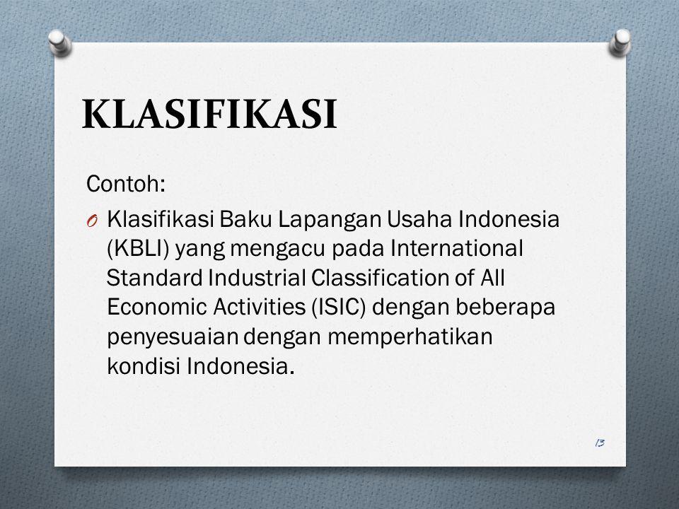 Contoh: O Klasifikasi Baku Lapangan Usaha Indonesia (KBLI) yang mengacu pada International Standard Industrial Classification of All Economic Activiti