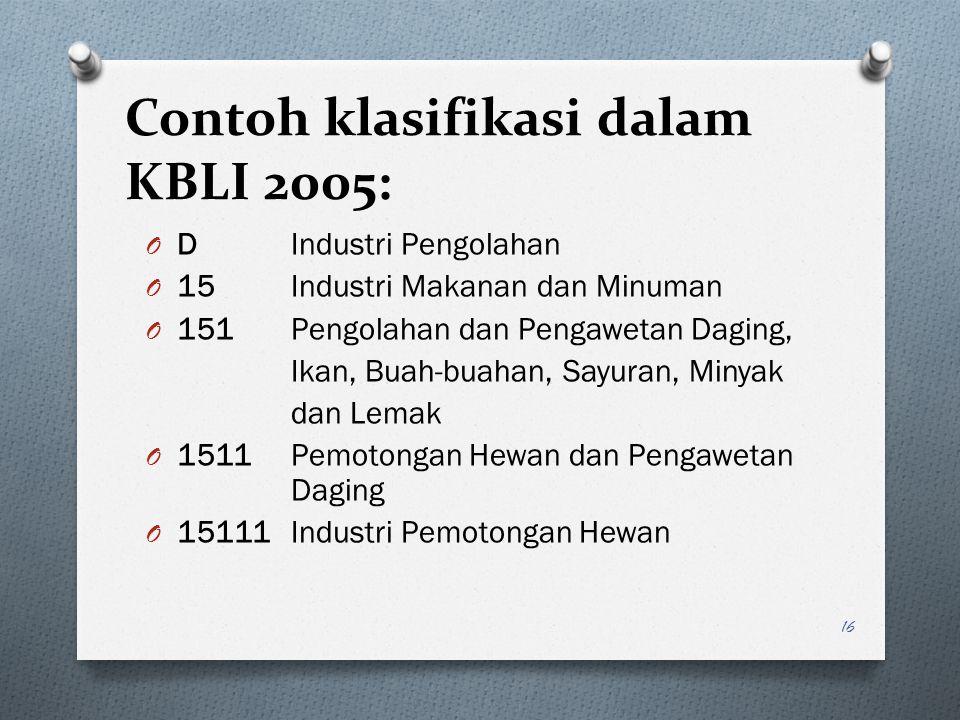 Contoh klasifikasi dalam KBLI 2005: O D Industri Pengolahan O 15 Industri Makanan dan Minuman O 151 Pengolahan dan Pengawetan Daging, Ikan, Buah-buaha