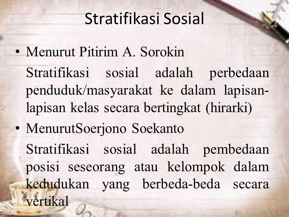 Stratifikasi Sosial Menurut Pitirim A.
