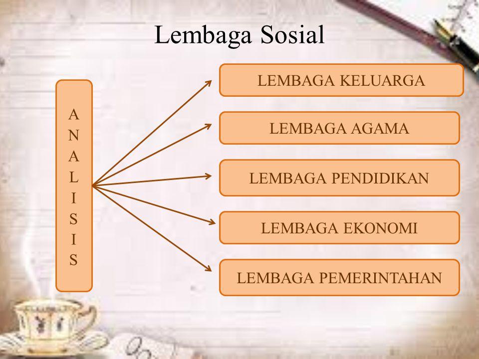 Lembaga Sosial LEMBAGA KELUARGA LEMBAGA AGAMA LEMBAGA PENDIDIKAN LEMBAGA EKONOMI LEMBAGA PEMERINTAHAN