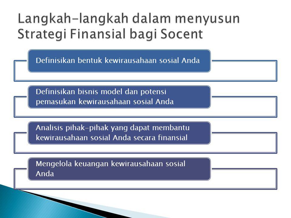 Definisikan bentuk kewirausahaan sosial Anda Definisikan bisnis model dan potensi pemasukan kewirausahaan sosial Anda Analisis pihak-pihak yang dapat membantu kewirausahaan sosial Anda secara finansial Mengelola keuangan kewirausahaan sosial Anda