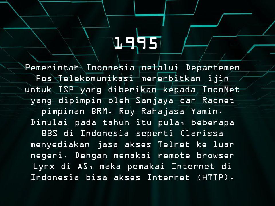 1995 Pemerintah Indonesia melalui Departemen Pos Telekomunikasi menerbitkan ijin untuk ISP yang diberikan kepada IndoNet yang dipimpin oleh Sanjaya da