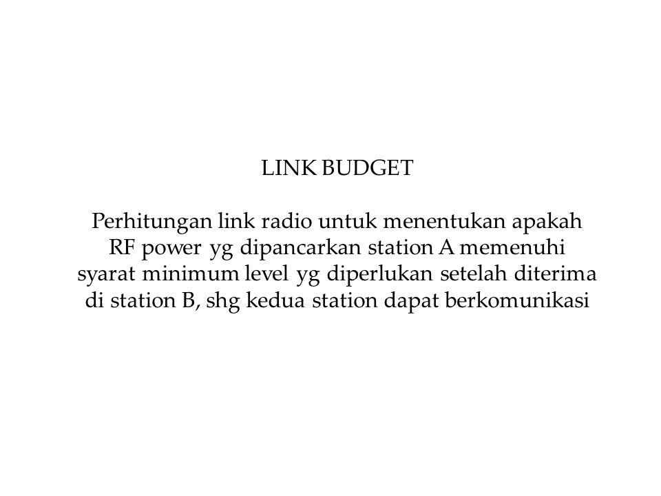 LINK BUDGET Perhitungan link radio untuk menentukan apakah RF power yg dipancarkan station A memenuhi syarat minimum level yg diperlukan setelah diterima di station B, shg kedua station dapat berkomunikasi