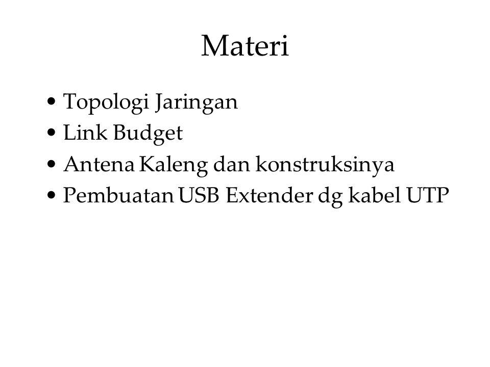 Materi Topologi Jaringan Link Budget Antena Kaleng dan konstruksinya Pembuatan USB Extender dg kabel UTP