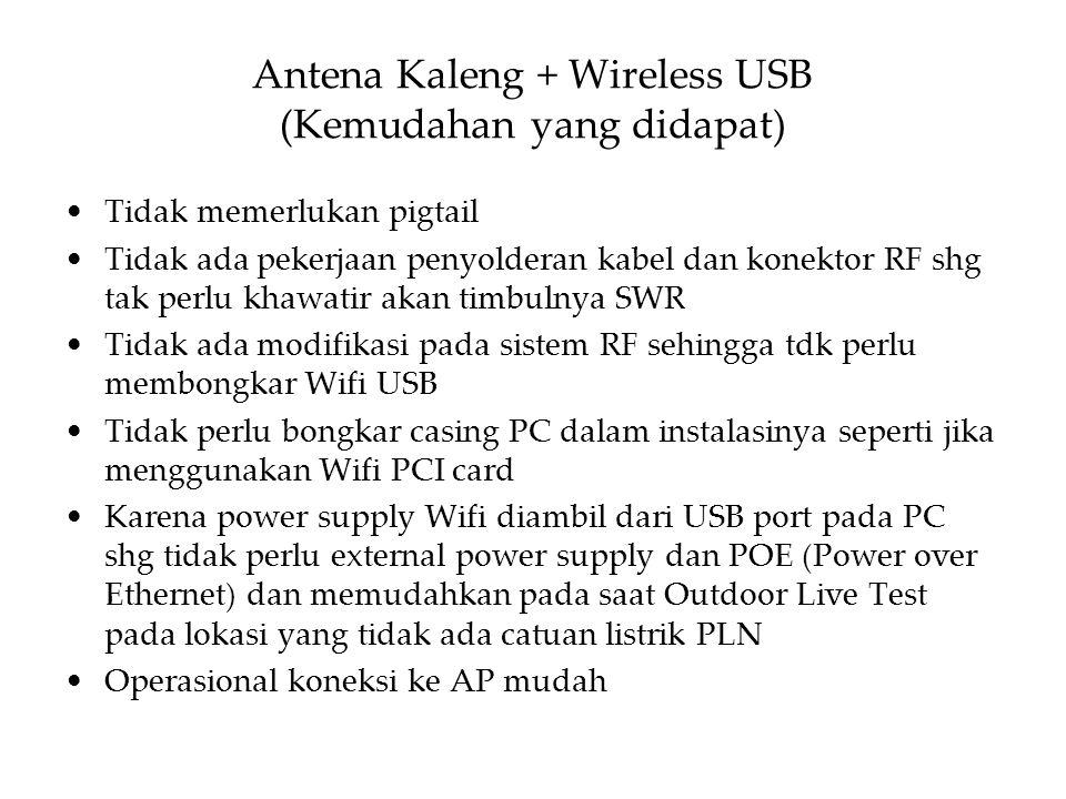 Antena Kaleng + Wireless USB (Kemudahan yang didapat) Tidak memerlukan pigtail Tidak ada pekerjaan penyolderan kabel dan konektor RF shg tak perlu kha
