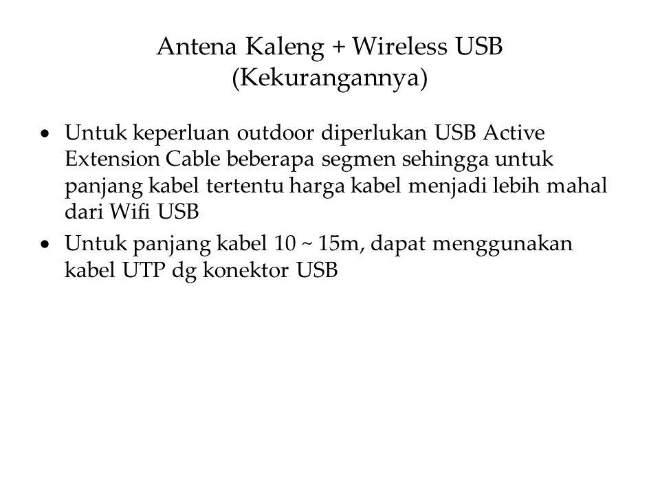  Untuk keperluan outdoor diperlukan USB Active Extension Cable beberapa segmen sehingga untuk panjang kabel tertentu harga kabel menjadi lebih mahal dari Wifi USB  Untuk panjang kabel 10 ~ 15m, dapat menggunakan kabel UTP dg konektor USB Antena Kaleng + Wireless USB (Kekurangannya)