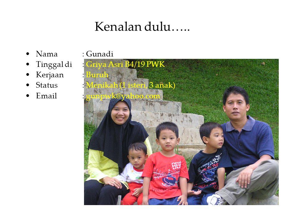 Kenalan dulu….. Nama: Gunadi Tinggal di : Griya Asri B4/19 PWK Kerjaan : Buruh Status : Menikah (1 isteri, 3 anak) Email : gunpwk@yahoo.com