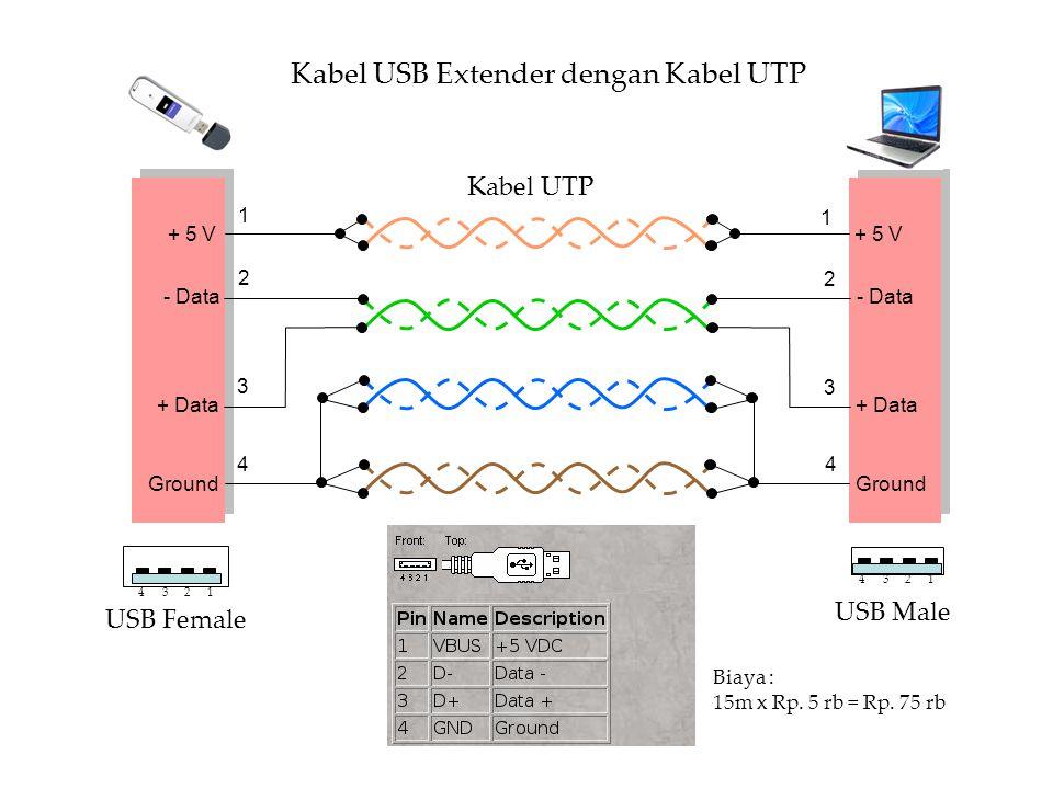 + 5 V - Data + Data Ground 1 2 3 4 1 2 3 4 + 5 V - Data + Data Ground 1234 1234 USB Female USB Male Kabel UTP Kabel USB Extender dengan Kabel UTP Biaya : 15m x Rp.