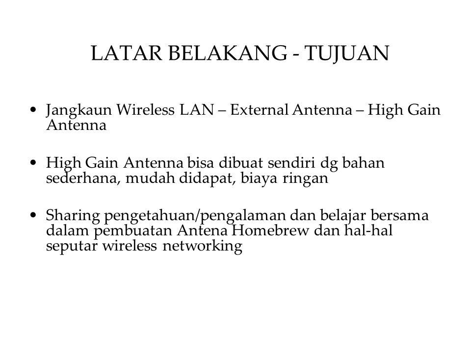 LATAR BELAKANG - TUJUAN Jangkaun Wireless LAN – External Antenna – High Gain Antenna High Gain Antenna bisa dibuat sendiri dg bahan sederhana, mudah didapat, biaya ringan Sharing pengetahuan/pengalaman dan belajar bersama dalam pembuatan Antena Homebrew dan hal-hal seputar wireless networking