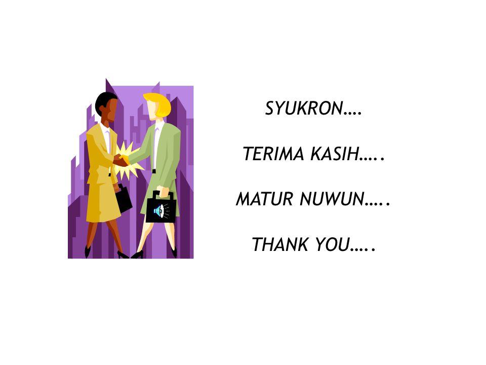 SYUKRON…. TERIMA KASIH….. MATUR NUWUN….. THANK YOU…..