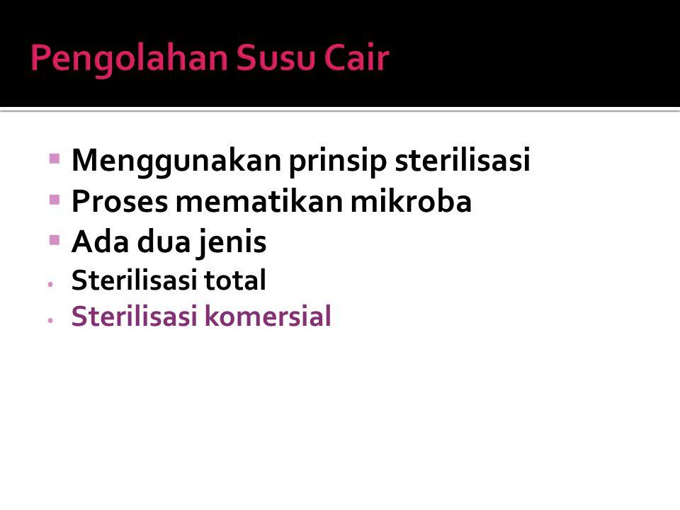  Menggunakan prinsip sterilisasi  Proses mematikan mikroba  Ada dua jenis Sterilisasi total Sterilisasi komersial