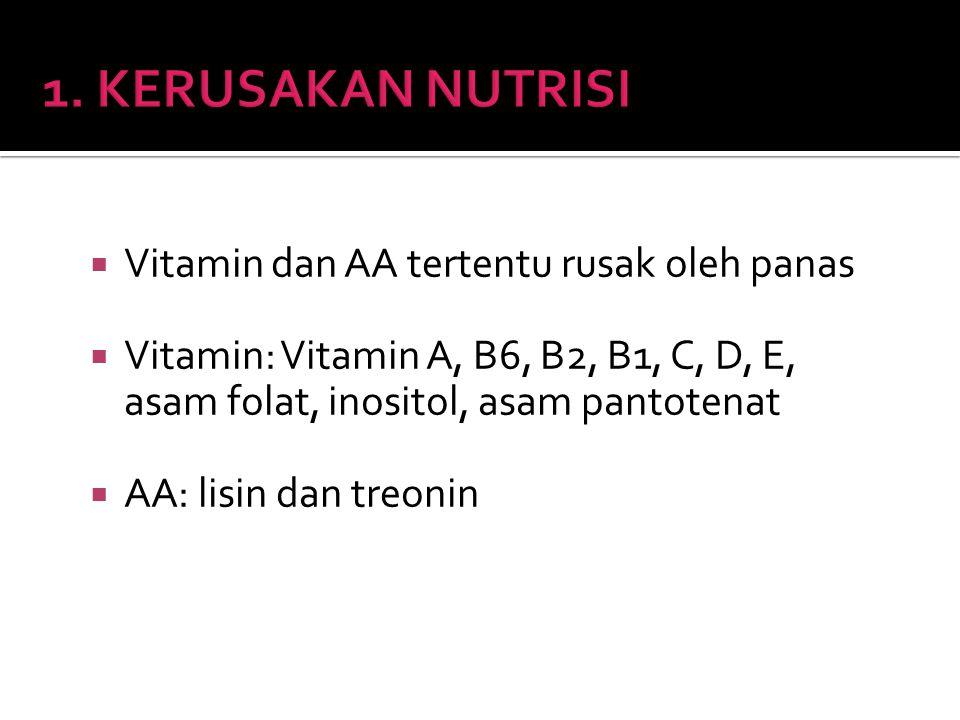  Vitamin dan AA tertentu rusak oleh panas  Vitamin: Vitamin A, B6, B2, B1, C, D, E, asam folat, inositol, asam pantotenat  AA: lisin dan treonin