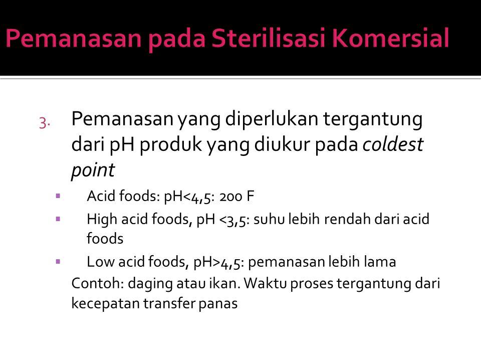 3. Pemanasan yang diperlukan tergantung dari pH produk yang diukur pada coldest point  Acid foods: pH<4,5: 200 F  High acid foods, pH <3,5: suhu leb
