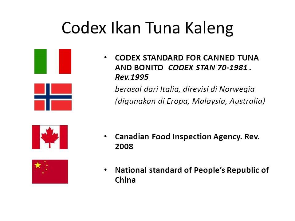 Codex Ikan Tuna Kaleng CODEX STANDARD FOR CANNED TUNA AND BONITO CODEX STAN 70-1981.