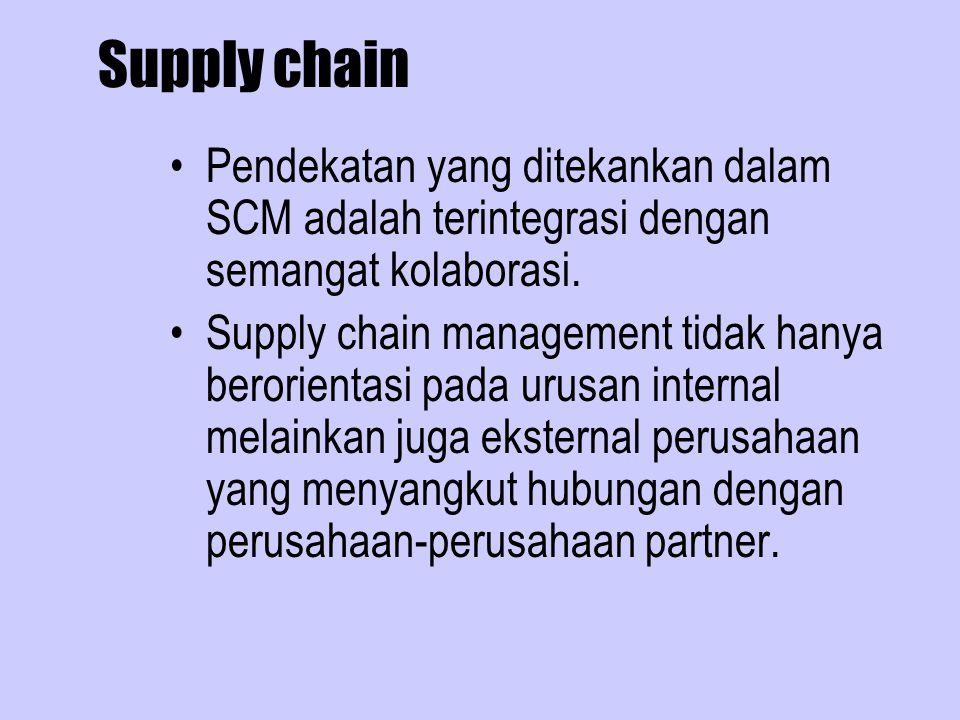Supply chain Pendekatan yang ditekankan dalam SCM adalah terintegrasi dengan semangat kolaborasi. Supply chain management tidak hanya berorientasi pad