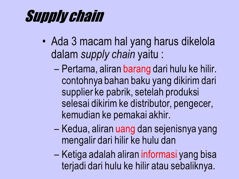 Supply chain Ada 3 macam hal yang harus dikelola dalam supply chain yaitu : –Pertama, aliran barang dari hulu ke hilir.
