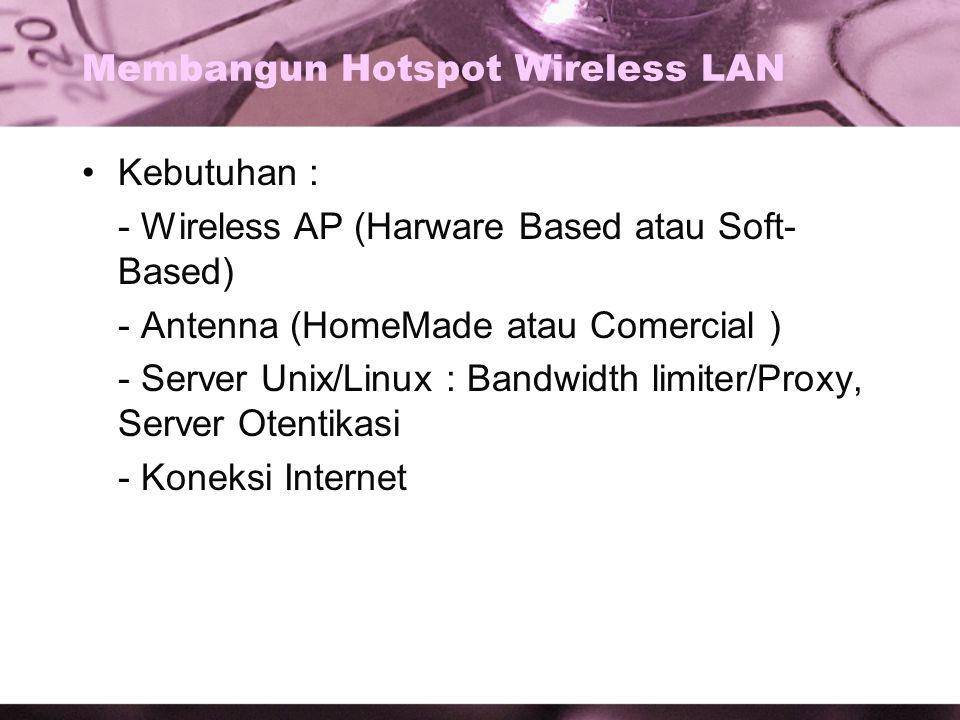 Membangun Hotspot Wireless LAN Kebutuhan : - Wireless AP (Harware Based atau Soft- Based) - Antenna (HomeMade atau Comercial ) - Server Unix/Linux : Bandwidth limiter/Proxy, Server Otentikasi - Koneksi Internet