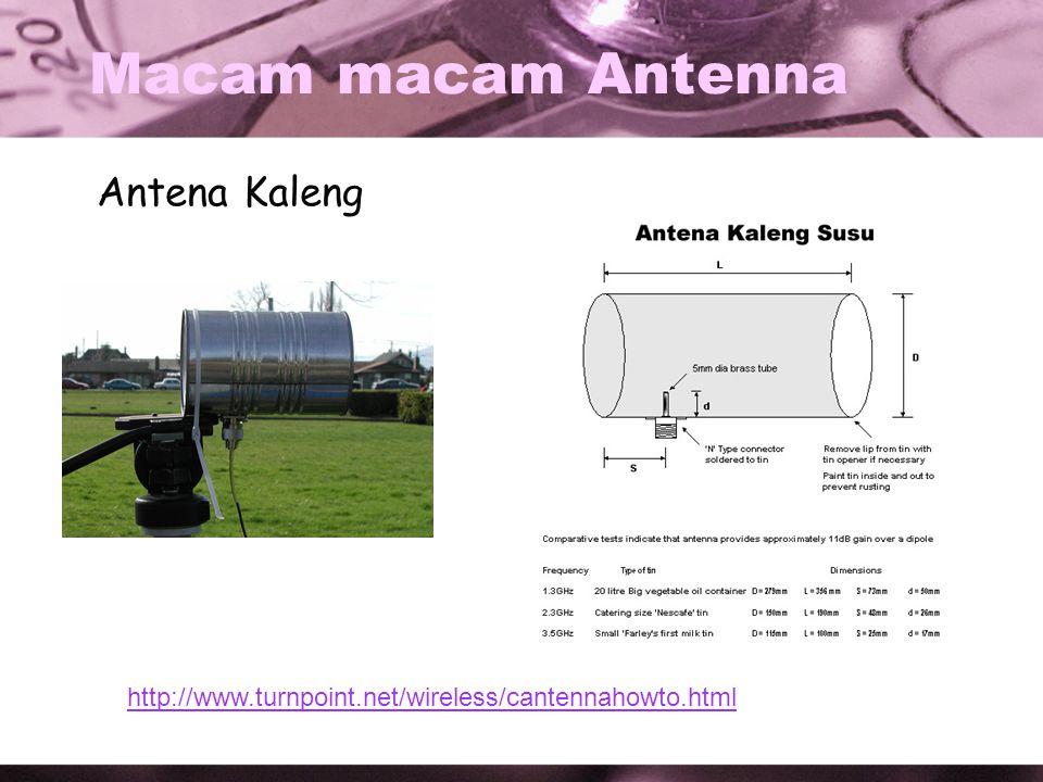 Macam macam Antenna Antena Kaleng http://www.turnpoint.net/wireless/cantennahowto.html
