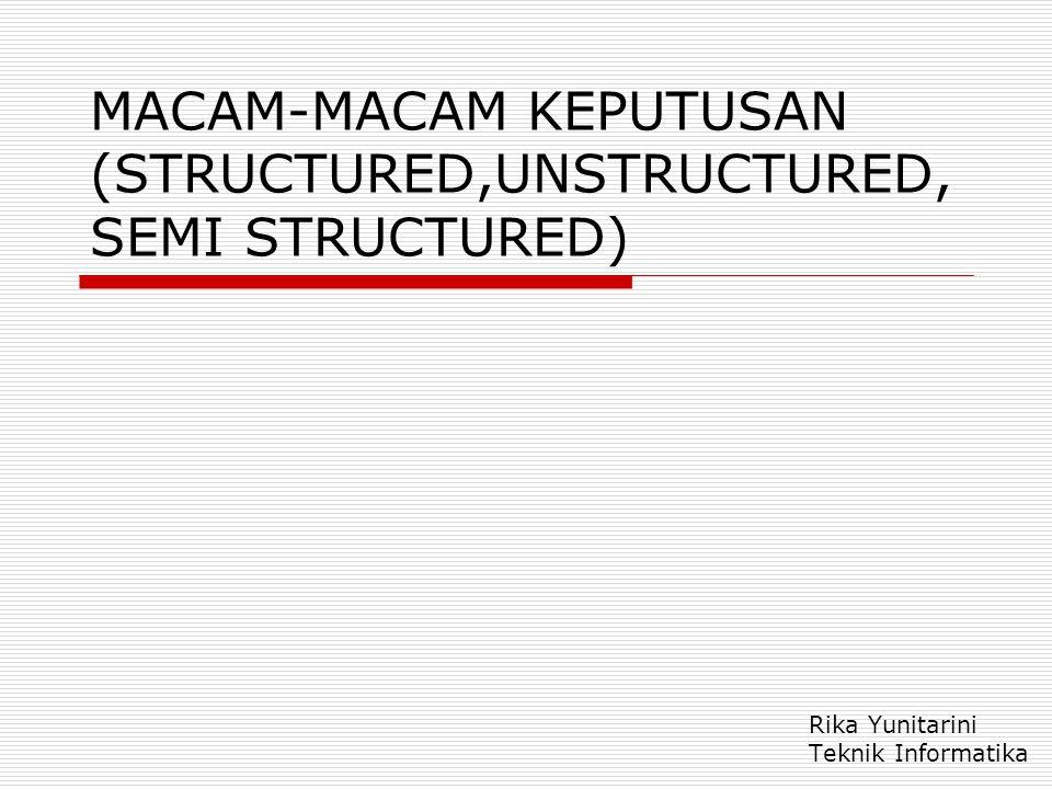 MACAM-MACAM KEPUTUSAN (STRUCTURED,UNSTRUCTURED, SEMI STRUCTURED) Rika Yunitarini Teknik Informatika