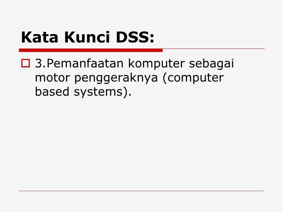 Kata Kunci DSS:  3.Pemanfaatan komputer sebagai motor penggeraknya (computer based systems).