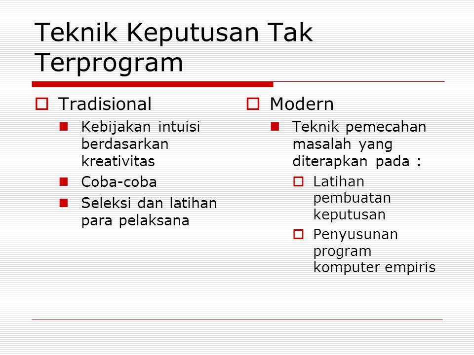 Teknik Keputusan Tak Terprogram  Tradisional Kebijakan intuisi berdasarkan kreativitas Coba-coba Seleksi dan latihan para pelaksana  Modern Teknik pemecahan masalah yang diterapkan pada :  Latihan pembuatan keputusan  Penyusunan program komputer empiris