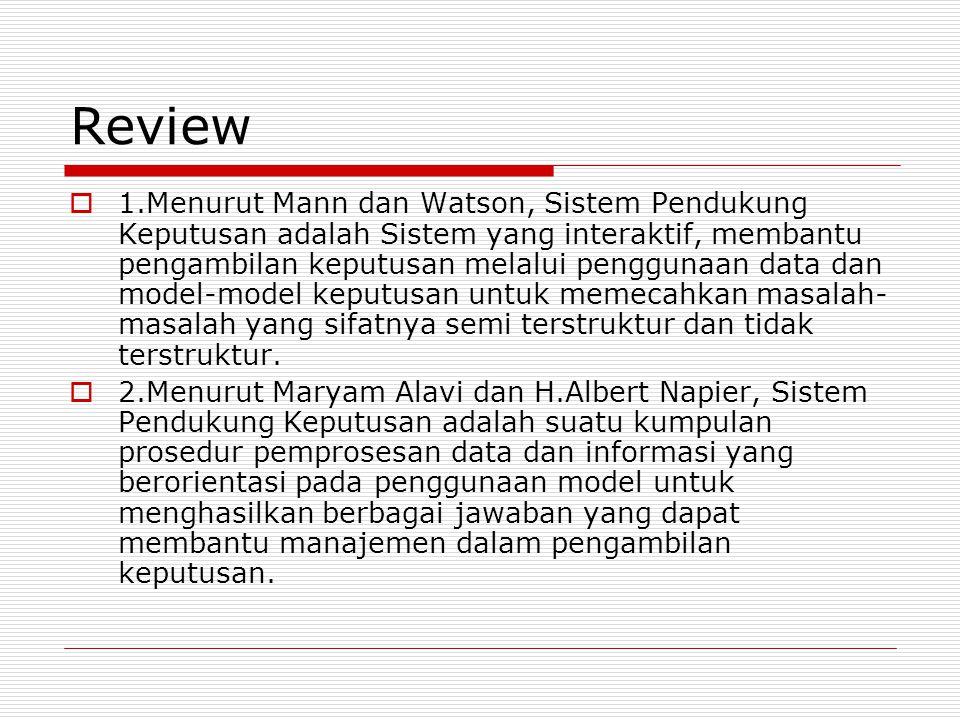 Review  1.Menurut Mann dan Watson, Sistem Pendukung Keputusan adalah Sistem yang interaktif, membantu pengambilan keputusan melalui penggunaan data dan model-model keputusan untuk memecahkan masalah- masalah yang sifatnya semi terstruktur dan tidak terstruktur.