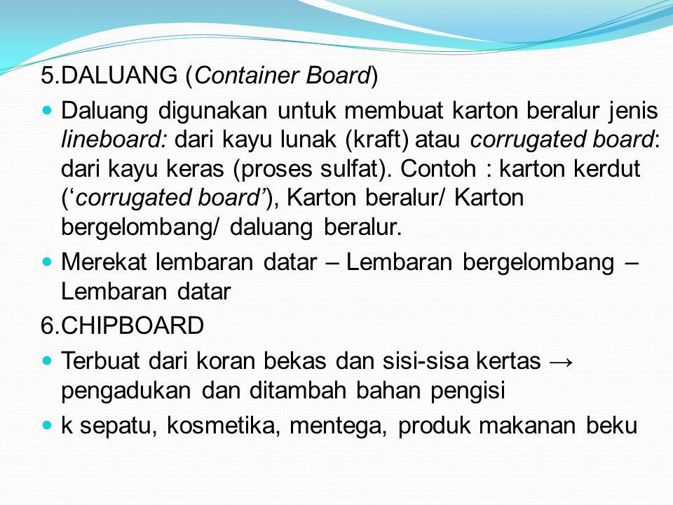 5.DALUANG (Container Board) Daluang digunakan untuk membuat karton beralur jenis lineboard: dari kayu lunak (kraft) atau corrugated board: dari kayu k
