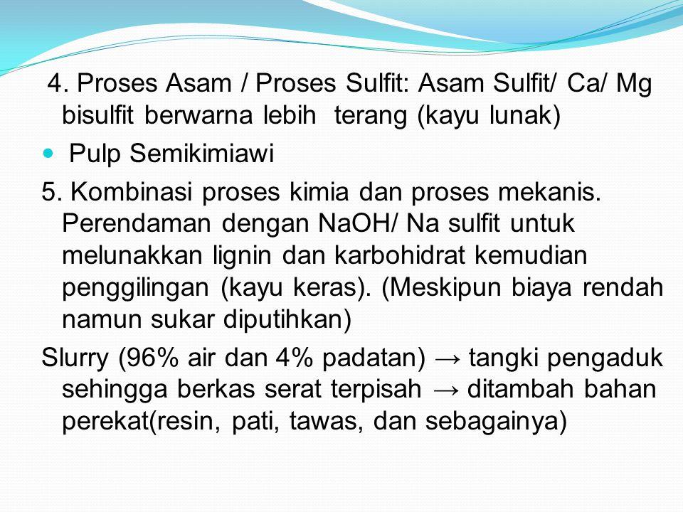 4. Proses Asam / Proses Sulfit: Asam Sulfit/ Ca/ Mg bisulfit berwarna lebih terang (kayu lunak) Pulp Semikimiawi 5. Kombinasi proses kimia dan proses