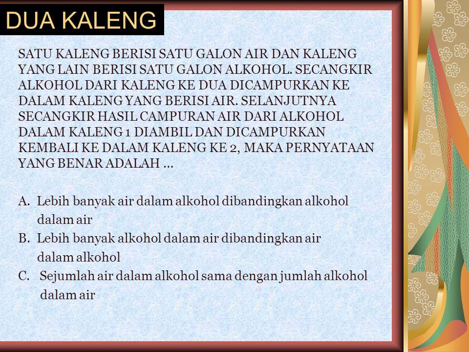 DUA KALENG SATU KALENG BERISI SATU GALON AIR DAN KALENG YANG LAIN BERISI SATU GALON ALKOHOL. SECANGKIR ALKOHOL DARI KALENG KE DUA DICAMPURKAN KE DALAM