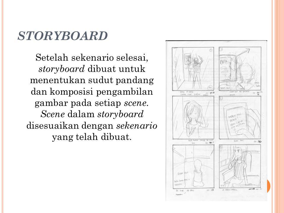 STORYBOARD Setelah sekenario selesai, storyboard dibuat untuk menentukan sudut pandang dan komposisi pengambilan gambar pada setiap scene.