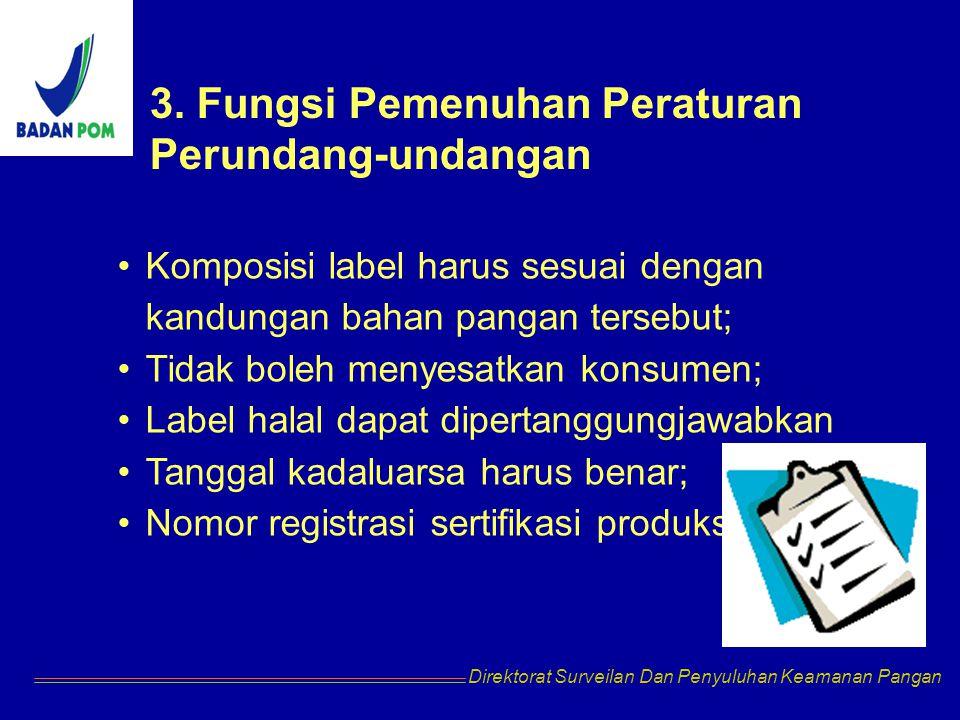 Direktorat Surveilan Dan Penyuluhan Keamanan Pangan Komposisi label harus sesuai dengan kandungan bahan pangan tersebut; Tidak boleh menyesatkan konsumen; Label halal dapat dipertanggungjawabkan Tanggal kadaluarsa harus benar; Nomor registrasi sertifikasi produksi 3.