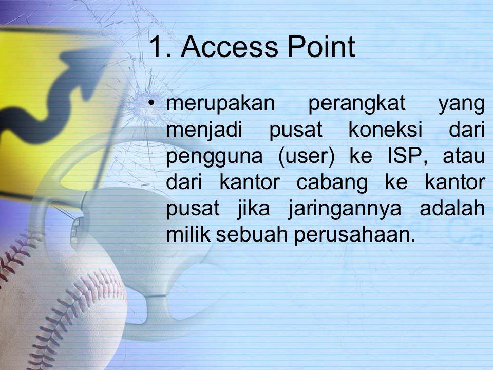 1. Access Point merupakan perangkat yang menjadi pusat koneksi dari pengguna (user) ke ISP, atau dari kantor cabang ke kantor pusat jika jaringannya a