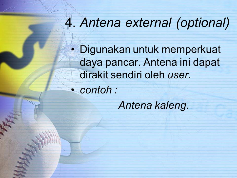 4.Antena external (optional) Digunakan untuk memperkuat daya pancar.
