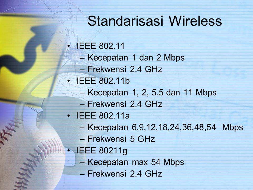 Standarisasi Wireless IEEE 802.11 –Kecepatan 1 dan 2 Mbps –Frekwensi 2.4 GHz IEEE 802.11b –Kecepatan 1, 2, 5.5 dan 11 Mbps –Frekwensi 2.4 GHz IEEE 802.11a –Kecepatan 6,9,12,18,24,36,48,54 Mbps –Frekwensi 5 GHz IEEE 80211g –Kecepatan max 54 Mbps –Frekwensi 2.4 GHz